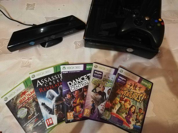 Xbox 360 + bezprzewodowy pad + kinekt + 5 gier