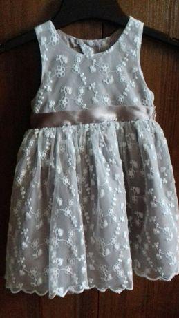 Детское нарядное платье 9-12 мес. капучино