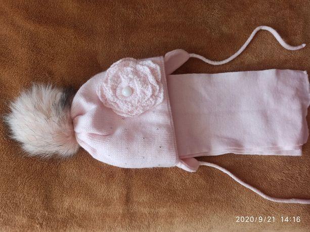 Комплект шапочка зимова з шарфіком