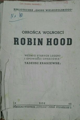Książka Robin Hood i Marianna żona Robin Hooda Kraszewski Tadeusz