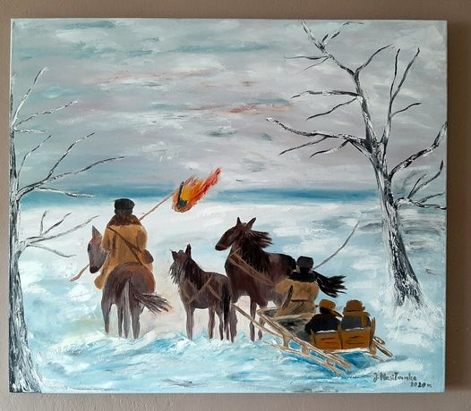 Obrazy malowane na płótnie.