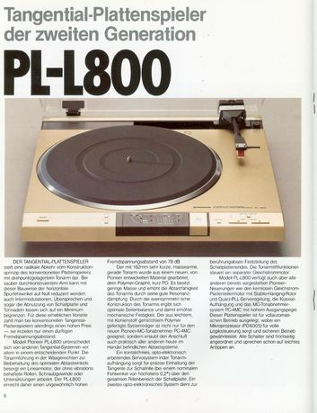 Gramofon PIONEER PL-800 tangencjonalny Wkladka typu MC .