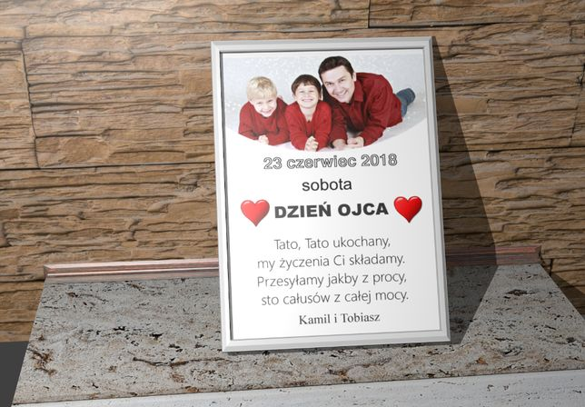 Pamiątka na Dzień Ojca taty kartka z kalendarza ze zdjęciem