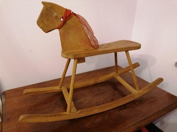 Stary Ręcznie Wykonany Konik na Biegunach ,Koń, Zabawka