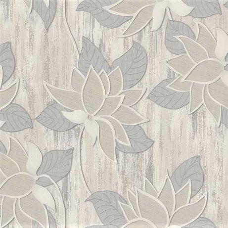 Tapeta ścienna zmywalna sypialnia kwiaty liście brokat pokojowa