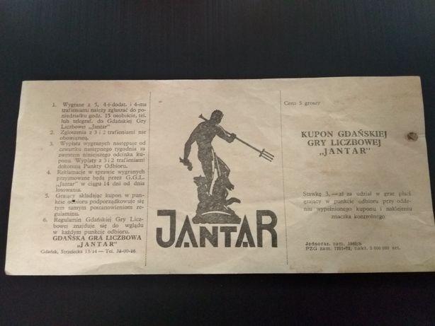 Kolekcjonerski kupon Gdańskiej Gry Liczbowej Jantar !!