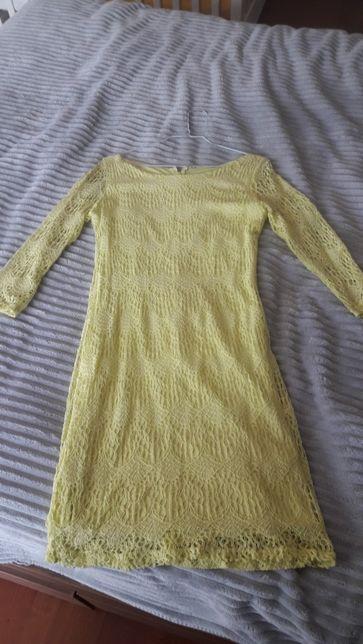 Sukienka krótka obcisła rękaw 3/4 koronka żółta