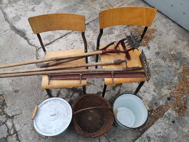 Grabie, wiadro, koszyk, krzesła, kopaczka - zestaw dzialkowca