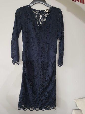 Sukienka ciążowa H&M XS koronkowa granatowa