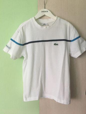 Śliczna koszulka Lacoste t-shirt 6 7 8 lat 134 140 biała bluzka lampas