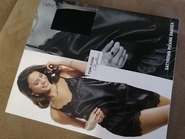Pizamka piżama satynowa czarna S Walentynki prezent