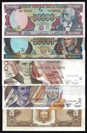 Эквадор набор 5 шт. 20,5000,10000,20000,50000 СУКРЕ -UNC.