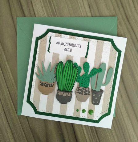 kartka ręcznie robiona z kaktusami, na parapetówkę, urodziny, imieniny