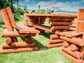 Meble ogrodowe z kołka toczonego stół i dwie ławki