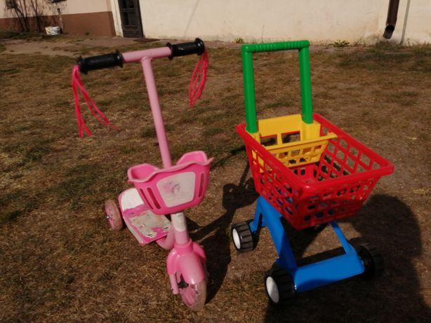Hulajnoga trójkołowa, duży wózek koszyk na zakupy