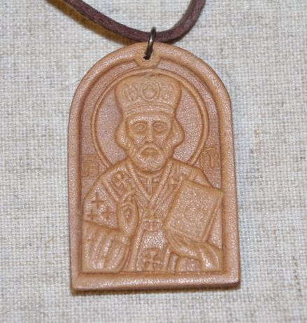 Иконка Новая Из Натуральной Кожи На Шнурке С Изображением Лика Святого