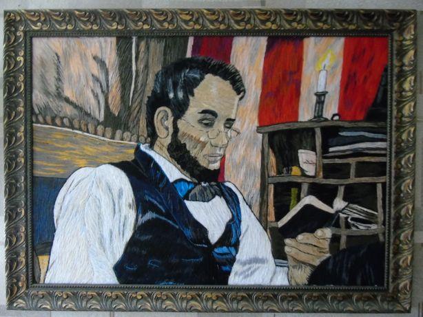 Вышитая картина Авраам Линкольн