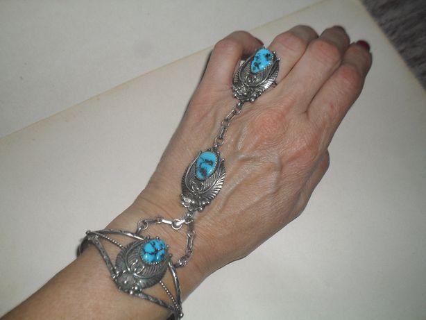 Srebro z turkusami - wspaniała ozdoba na dłoń-bransoletka,pierścionek