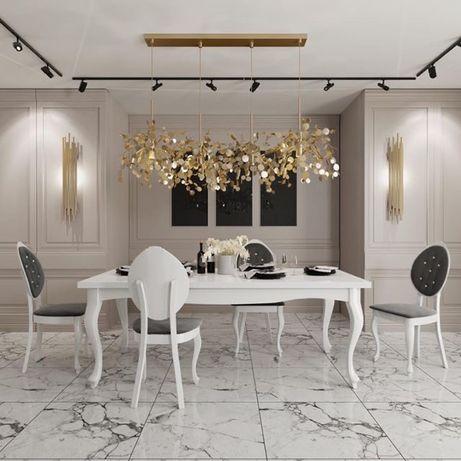 stół glamour zdobiony biały wysoki połysk nogi ludwik