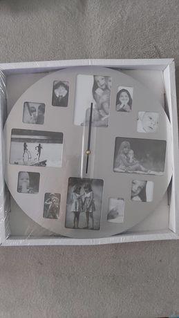 Zegar ścienny 40cm memory zdjęcia  srebrny duży nowy
