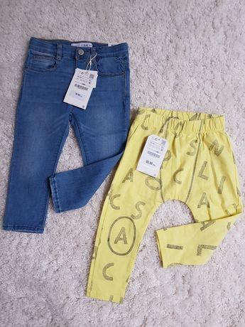 2x ZARA 92 nowe leginsy dżinsy elastyczne jeansy rurki skinny miękkie