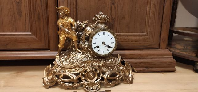 Niespotykany figuralny zegar kominkowy ,XIXw,Francja