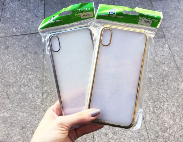 Capa de silicone para iPhone XS Max - Laterais prateado/dourado - NOVO