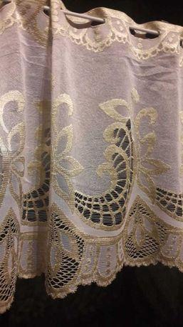 Biała złota żakardowa zazdrostka 50 cm firanka