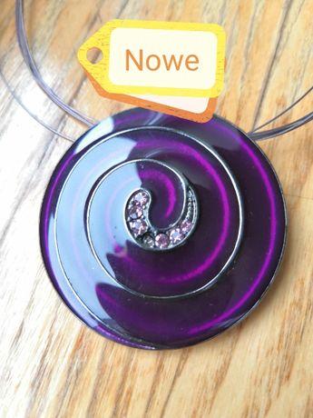Wisior boho bez niklu naszyjnik spirala cyrkonie fioletowy Nowy