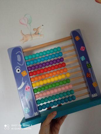 EDUKACJA liczydła drewniane do szkoły nauka liczenia NOWE zabawa kolor