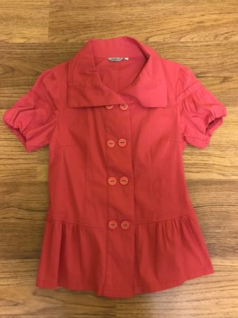 Красная женская блузка с коротким рукавом рубашка весна лето