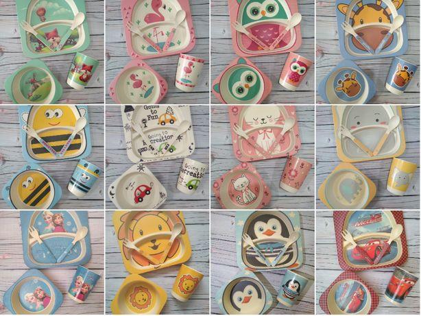 Детский набор экологической посуды 5 в 1, бамбуковая, посуда для детей