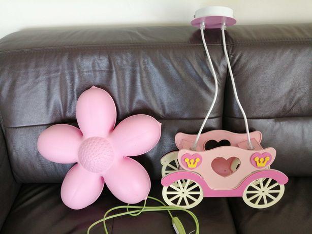 Żyrandol dziecięcy kareta + kwiatek lampka nocna