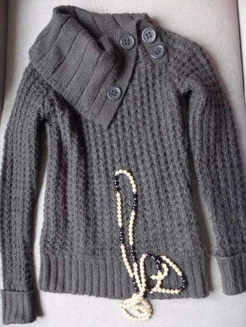 Sweter ONLY S M 36 cudny splot WEŁNA MOHER gołębio-szary