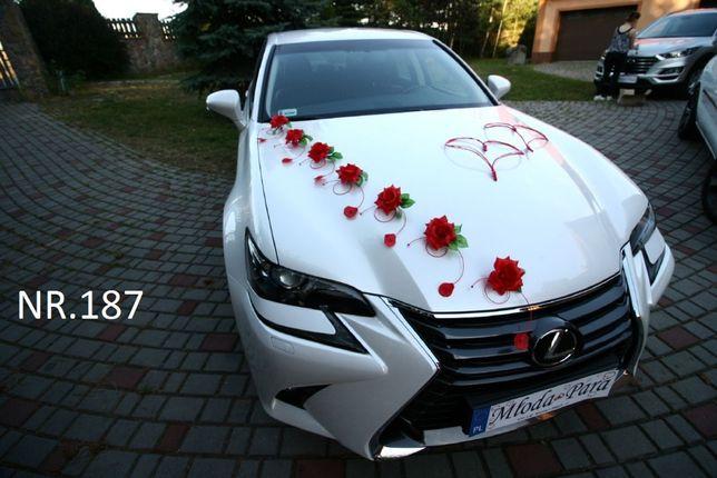 Czerwona dekoracja na samochód/ozdoba/stroik/ślub/wesele/przybranie