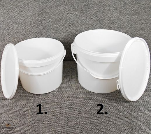 Wiadro z Pokrywą, Plastikowy Pojemnik na Miód,Hobok,Wiadro z Uchwytami