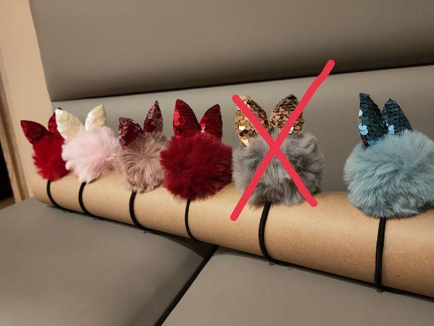 Nowe gumki do włosów pompon z uszkami