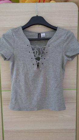 Szara koszulka crop top damski h&m