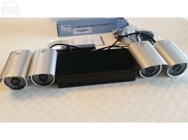 Kit sistema video vigilancia gravador 4 canais cameras visualização vi