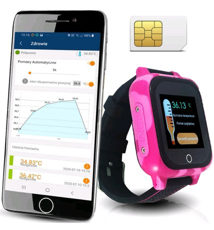 Smartwatch dla dzieci z pomiarem temperatury i aktywną kartą SIM