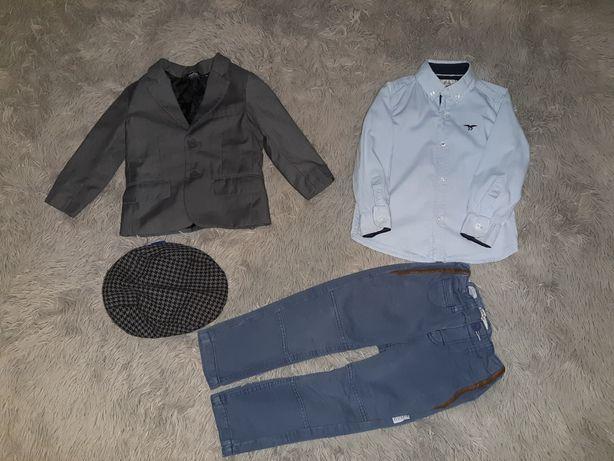 Zestaw elegancki dla chłopca 92/98 marynarka spodnie koszula kaszkiet.