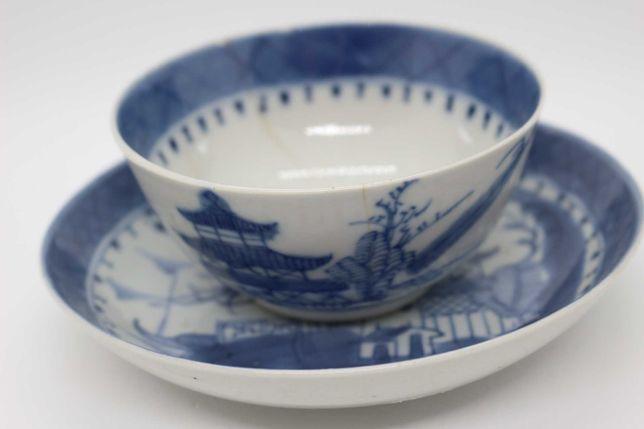 Taça e Prato Porcelana Chinesa Cantão Paisagem e Pagodes XIX