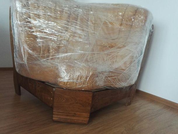 Wypoczynek skórzany- jeden element, narożnik 100% skóra, drewno