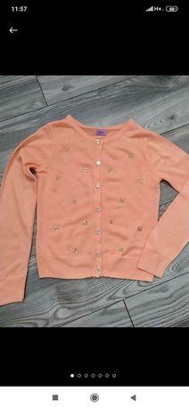 Красивая персиковая кофточка с стразами для девочки