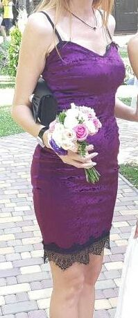 Платье нарядное дружки корпоратив бордовое фиолетовое с кружевом