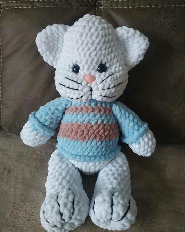 Кот Том, из плюшевой пряжи, ручна робота, hand made, іграшки, амігурум
