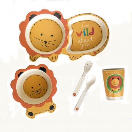 Детская бамбуковая посуда Львенок набор из 5 предметов, Дитячий посудх