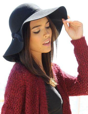 Женская фетровая шляпа Bershka с широкими полями черная
