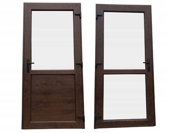Drzwi zewnętrzne 90x200 orzech tarasowe sklepowe DOSTAWA CAŁA POLSKA