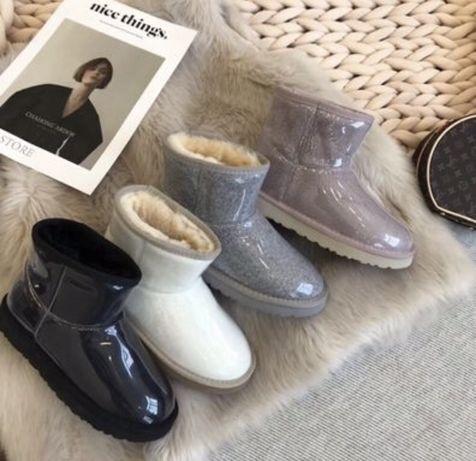 Зимние  сапоги ugg прозрачные угги женские ботинки